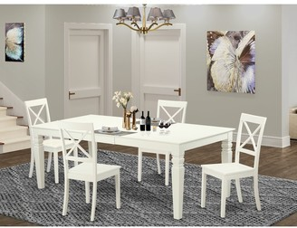 East West Furniture Mission-Style Off-White Wood Extendable Dining Set