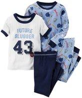 """Carter's Little Boys' Toddler """"Future Slugger"""" 4-Piece Pajamas"""