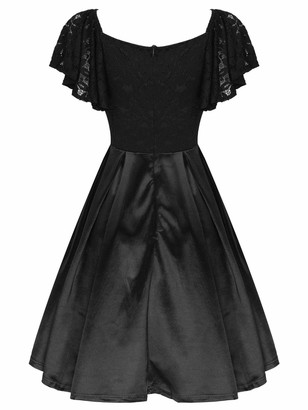 Oyolan Women's Short Flutter Sleeve Vintage Floral Lace Cocktail Party A-Line Swing Evening Dress Casual Party Ball Gown Black XXL