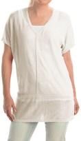 Cullen Linen V-Neck Seamed Shirt - Short Sleeve (For Women)