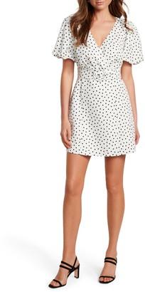 Ever New Spot Print Belted Linen Blend Minidress