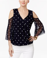 INC International Concepts Polka-Dot Cold-Shoulder Top, Only at Macy's