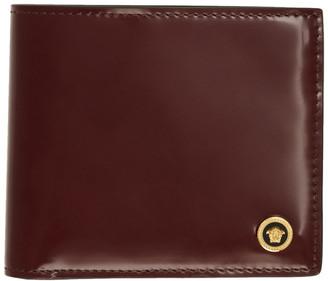 Versace Burgundy Patent Medusa Bifold Wallet