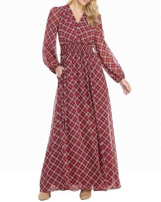 Gal Meets Glam Tartan Plaid Printed Long-Sleeve Chiffon Maxi Dress