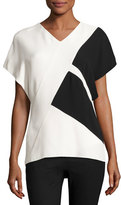 Narciso Rodriguez Colorblock V-Neck Short-Sleeve Top, Black/White