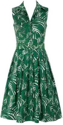 Samantha Sung Audrey Sleeveless Maui Palm-Print Shirtdress