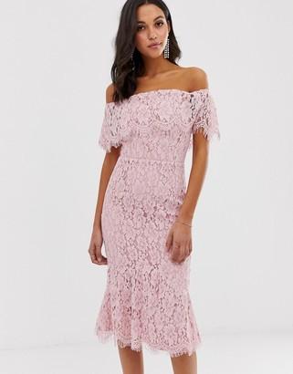 Little Mistress bardot all over lace midi dress-Pink