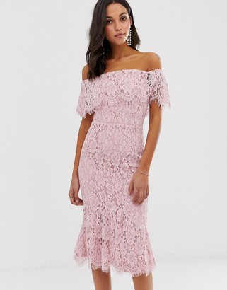 Little Mistress bardot all over lace midi dress