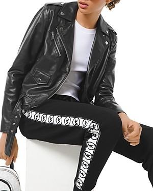 MICHAEL Michael Kors Logo Print Classic Leather Moto Jacket