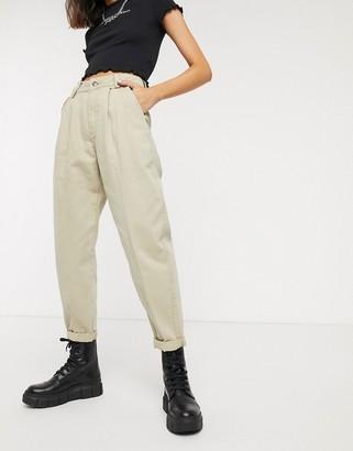 Bershka pleat top slouchy trousers in camel-Beige