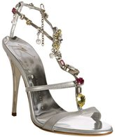 silver leather jeweled t-strap sandals
