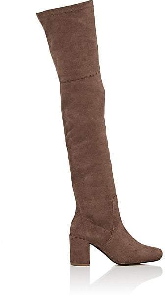 Barneys New York WOMEN'S FAUX-SUEDE OVER-THE-KNEE BOOTS - SAND SIZE 10