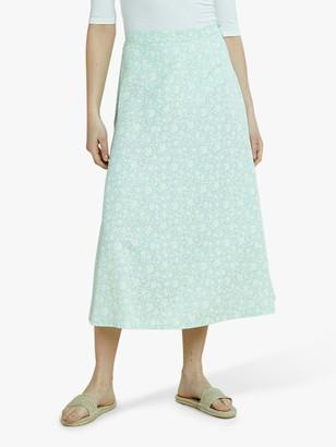 People Tree Alison Floral Midi Skirt, Green