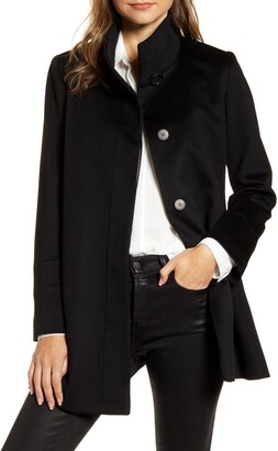 Fleurette Stand Collar Wool Car Coat