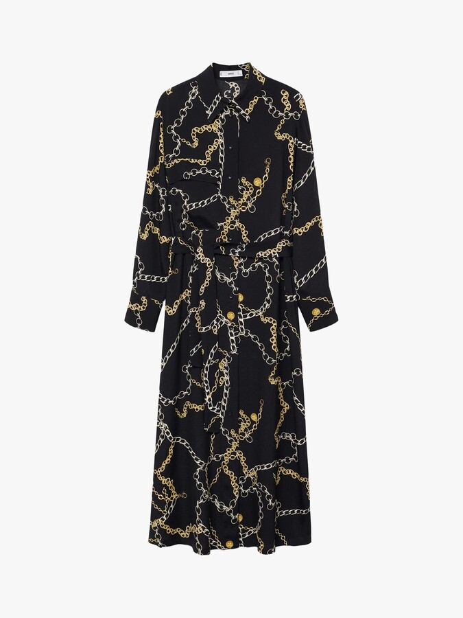 Thumbnail for your product : MANGO Chain Print Shirt Dress, Black