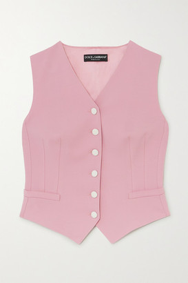 Dolce & Gabbana Wool-blend And Silk-blend Satin Vest - Pink