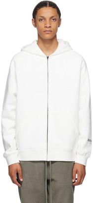 Essentials White Raglan Full Zip Hoodie