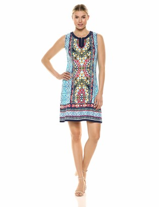 Rafaella Women's Print Zip-Neck Sleeveless Shift Dress