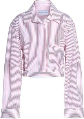 Michael Lo Sordo Cropped Striped Cotton-poplin Shirt