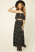 Forever 21 FOREVER 21+ Star Print Surplice Maxi Skirt