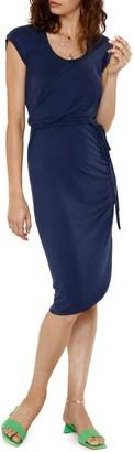 Heartloom Rafe Cap Sleeve Side Ruched Asymmetrical Hem Midi Dress