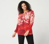 Susan Graver Printed Liquid Knit Embellished Tunic