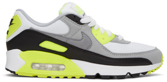 Nike White and Grey Air Max 90 Sneakers
