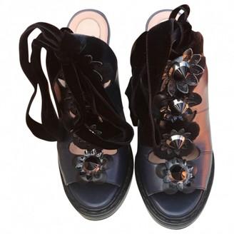 Fendi Navy Leather Sandals