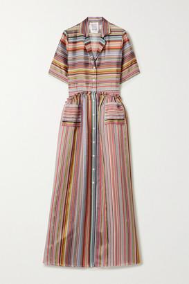 Rosie Assoulin Ruffled Striped Organza-jacquard Maxi Shirt Dress - Red