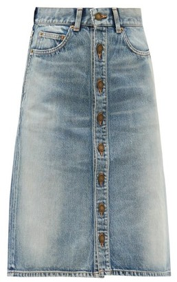 Saint Laurent Buttoned-front Denim Skirt - Denim