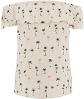 Oasis PALM PRINT BARDOT TOP