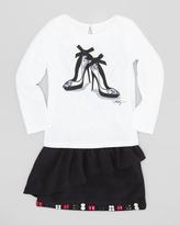 Milly Minis Stiletto-Print Long-Sleeve Tee