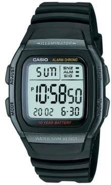 Casio Unisex Digital Black Resin Strap Watch 38mm