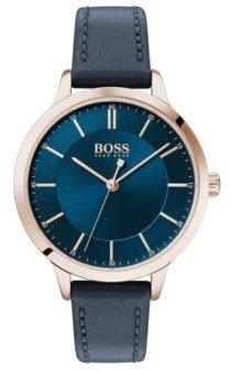 BOSS Carnation-gold-plated watch with blue two-tier dial