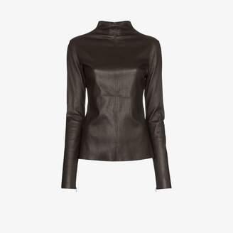 Bottega Veneta turtleneck stretch leather top