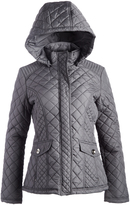 Weatherproof Smoke Gray Tab-Back Hooded Quilted Jacket