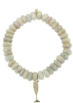 Sydney Evan Champagne Charm On Aqua Beaded Bracelet