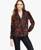 Ann Taylor Petite Rose Garden Pleated Collar Blouse