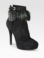 MICHAEL Michael Kors Vasha Feather-Trimmed Ankle Boots