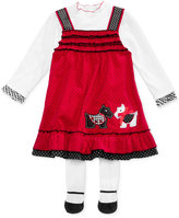 Blueberi Boulevard 3-Pc. Top, Corduroy Dogs Jumper & Footed Tights Set, Baby Girls (0-24 months)