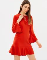 Karen Millen Lace & Frill Neckline Dress