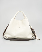 Henry Beguelin Calfskin Hobo Bag, Snow
