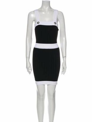 Balmain Colorblock Pattern Mini Dress w/ Tags Black