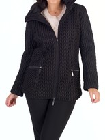 Chesca Cable Embroidered Quilted Coat, Black
