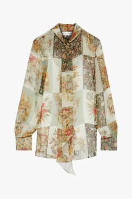 Oscar de la Renta Tie-neck Floral-print Silk-chiffon Blouse