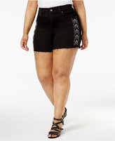 Melissa McCarthy Trendy Plus Size Studded Denim Shorts