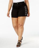 Melissa McCarthy Trendy Plus Size Studded Denim Shorts