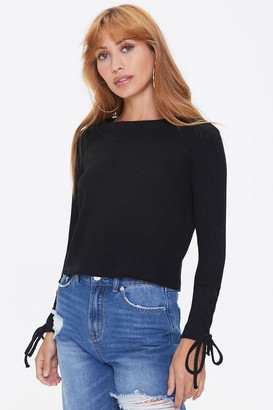 Forever 21 Lace-Up Waffle Knit Top