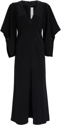 Victoria Beckham Draped V-Neck Crepe Dress