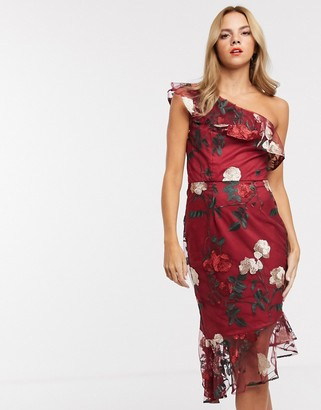 Chi Chi London one shoulder midi dress in floral embroidery